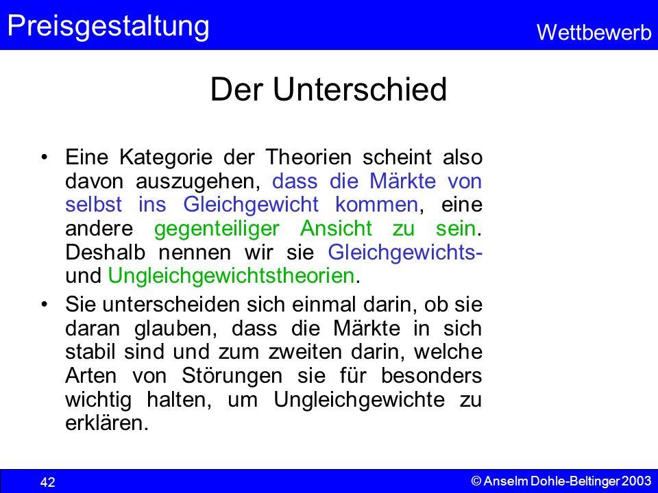 Preisgestaltung Wettbewerb © Anselm Dohle-Beltinger 2003 42 Der Unterschied Eine Kategorie der Theorien scheint also davon auszugehen, dass die Märkte
