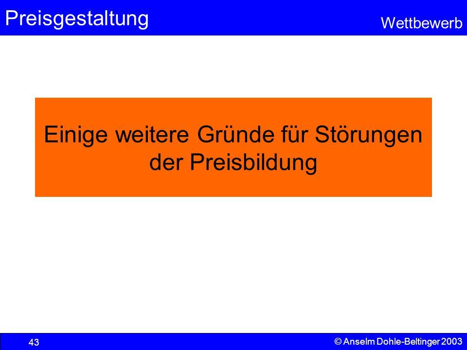 Preisgestaltung Wettbewerb © Anselm Dohle-Beltinger 2003 43 Einige weitere Gründe für Störungen der Preisbildung