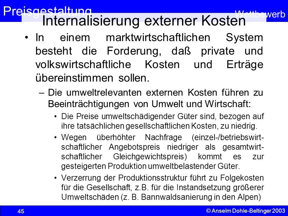 Preisgestaltung Wettbewerb © Anselm Dohle-Beltinger 2003 45 Internalisierung externer Kosten In einem marktwirtschaftlichen System besteht die Forderu