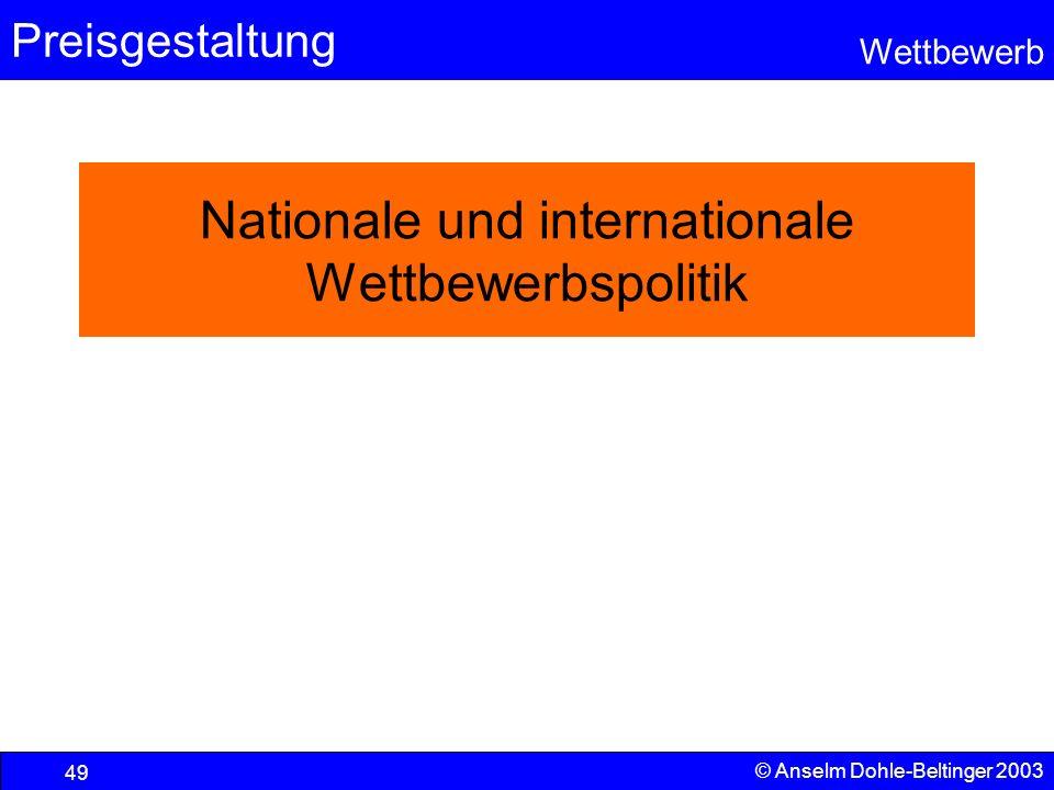 Preisgestaltung Wettbewerb © Anselm Dohle-Beltinger 2003 49 Nationale und internationale Wettbewerbspolitik