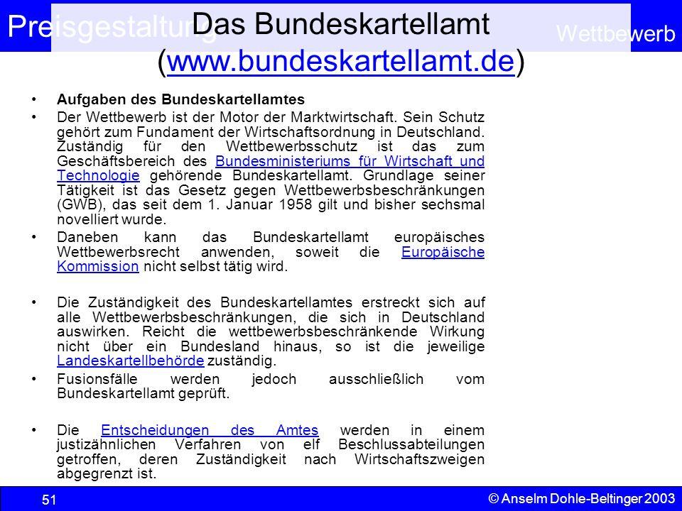 Preisgestaltung Wettbewerb © Anselm Dohle-Beltinger 2003 51 Das Bundeskartellamt (www.bundeskartellamt.de)www.bundeskartellamt.de Aufgaben des Bundesk