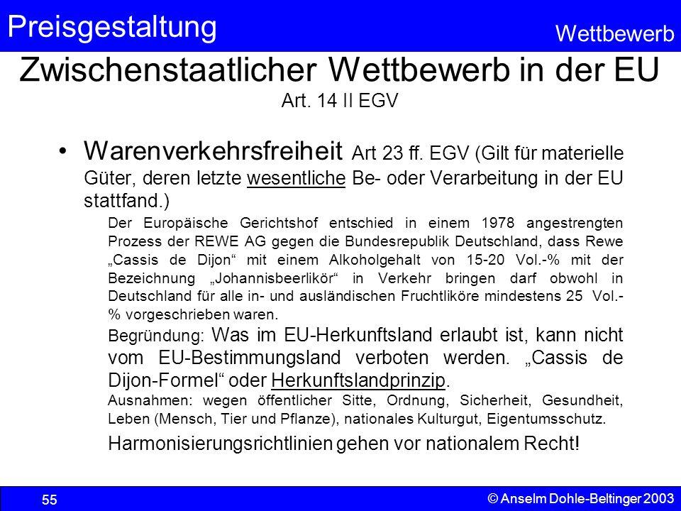 Preisgestaltung Wettbewerb © Anselm Dohle-Beltinger 2003 55 Zwischenstaatlicher Wettbewerb in der EU Art. 14 II EGV Warenverkehrsfreiheit Art 23 ff. E