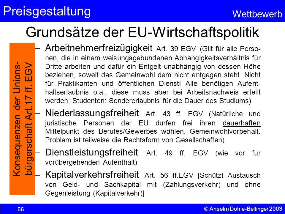 Preisgestaltung Wettbewerb © Anselm Dohle-Beltinger 2003 56 Grundsätze der EU-Wirtschaftspolitik –Arbeitnehmerfreizügigkeit Art. 39 EGV (Gilt für alle