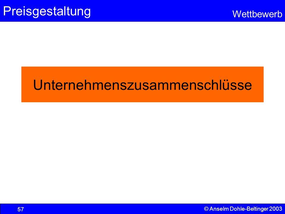 Preisgestaltung Wettbewerb © Anselm Dohle-Beltinger 2003 57 Unternehmenszusammenschlüsse