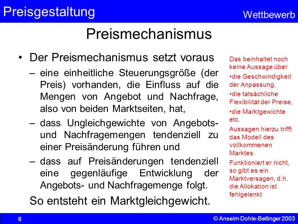Preisgestaltung Wettbewerb © Anselm Dohle-Beltinger 2003 6 Preismechanismus Der Preismechanismus setzt voraus –eine einheitliche Steuerungsgröße (der