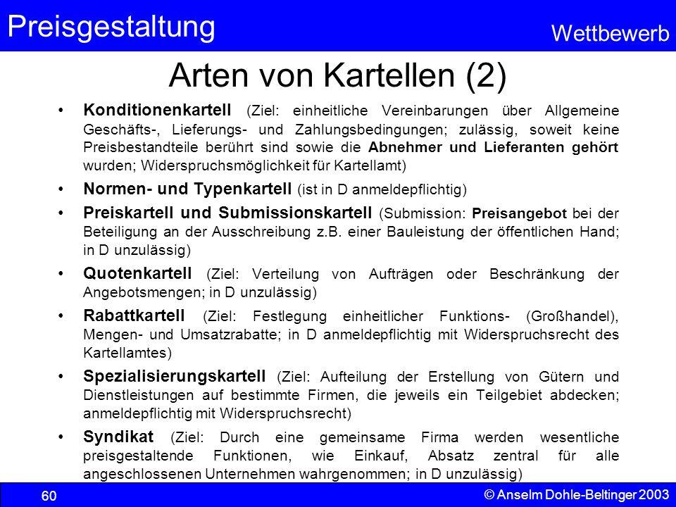 Preisgestaltung Wettbewerb © Anselm Dohle-Beltinger 2003 60 Arten von Kartellen (2) Konditionenkartell (Ziel: einheitliche Vereinbarungen über Allgeme