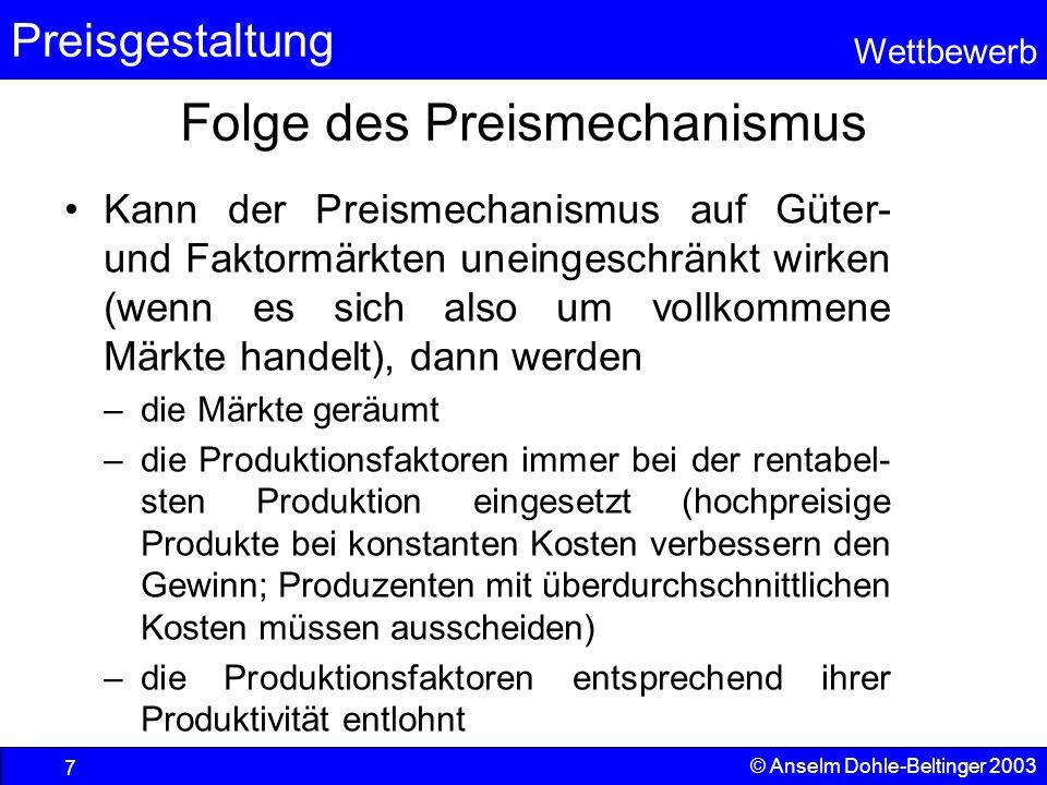 Preisgestaltung Wettbewerb © Anselm Dohle-Beltinger 2003 7 Folge des Preismechanismus Kann der Preismechanismus auf Güter- und Faktormärkten uneingesc