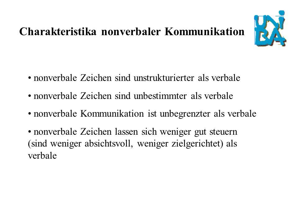 Kategorien in denen sich nonverbale Kommunikation abspielt: kinästhetisch (z.B.