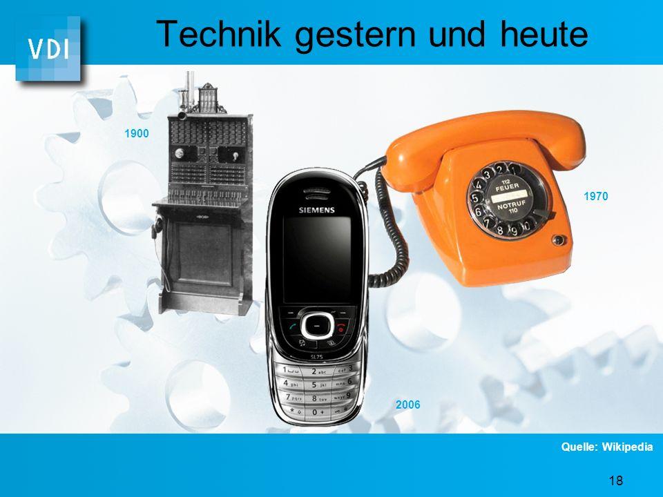 17 Technik gestern und heute 1909 1943 2006 Quelle: Wikipedia