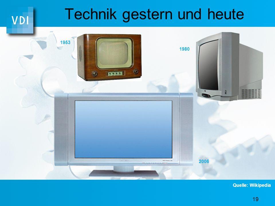 18 Technik gestern und heute 1900 1970 2006 Quelle: Wikipedia