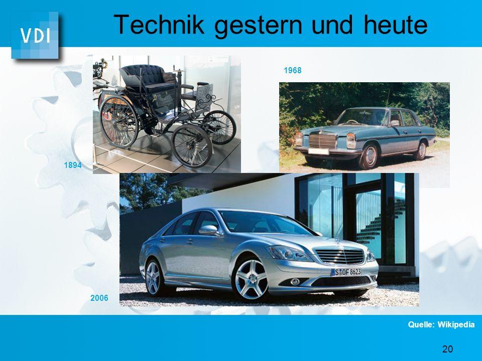 19 Technik gestern und heute 2006 1980 1953 Quelle: Wikipedia