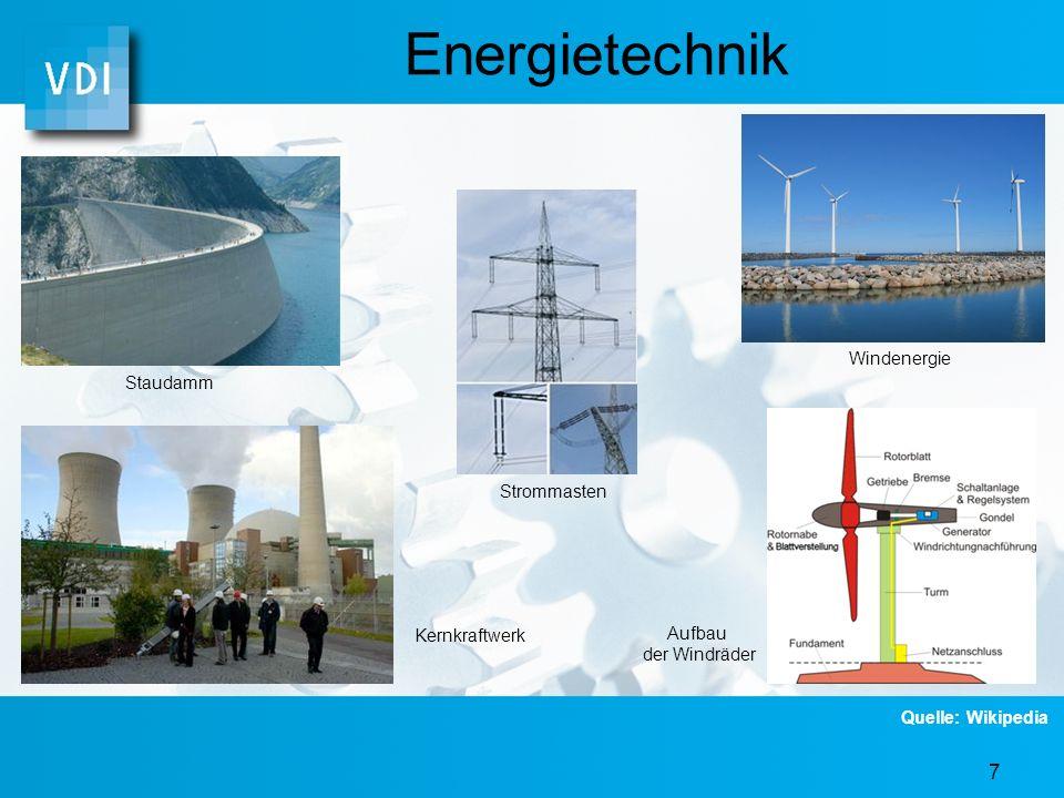 7 Energietechnik Kernkraftwerk Staudamm Strommasten Windenergie Aufbau der Windräder Quelle: Wikipedia