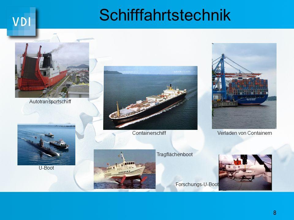 8 Schifffahrtstechnik ContainerschiffVerladen von Containern Autotransportschiff U-Boot Tragflächenboot Forschungs-U-Boot