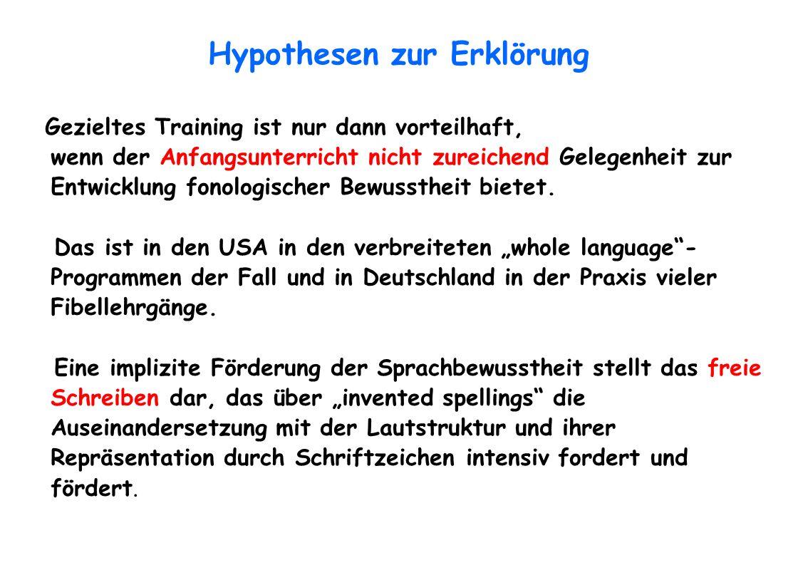 Hypothesen zur Erklörung Gezieltes Training ist nur dann vorteilhaft, wenn der Anfangsunterricht nicht zureichend Gelegenheit zur Entwicklung fonologi