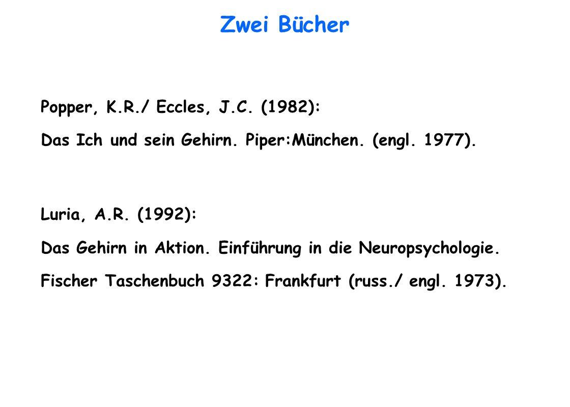Zwei Bücher Popper, K.R./ Eccles, J.C. (1982): Das Ich und sein Gehirn. Piper:München. (engl. 1977). Luria, A.R. (1992): Das Gehirn in Aktion. Einführ