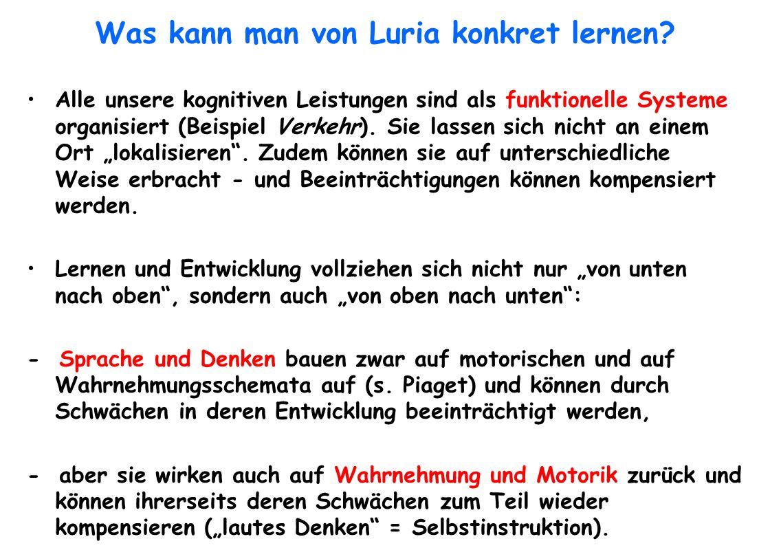 Was kann man von Luria konkret lernen? Alle unsere kognitiven Leistungen sind als funktionelle Systeme organisiert (Beispiel Verkehr). Sie lassen sich