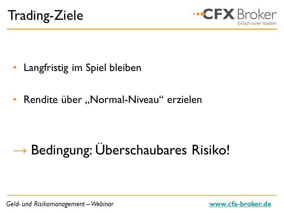 Geld- und Risikomanagement – Webinarwww.cfx-broker.de Trading-Ziele Langfristig im Spiel bleiben Rendite über Normal-Niveau erzielen Bedingung: Übersc