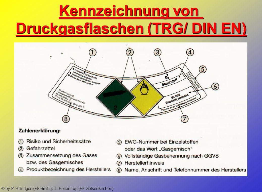 © by P. Hündgen (FF Brühl) / J. Bettentrup (FF Gelsenkirchen) Bis zum 1.7.2006 Kennzeichnung von Druckgasflaschen (TRG/ DIN EN) GasFarbeAnschlußgewind