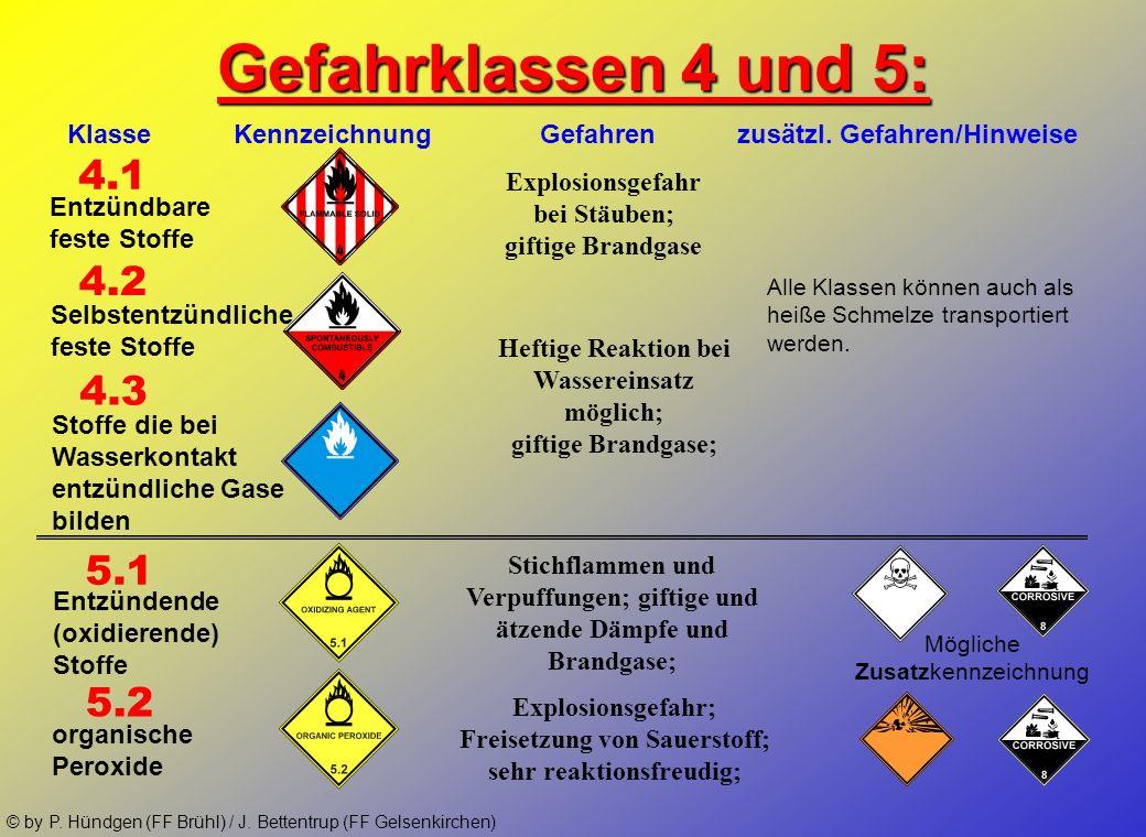 © by P. Hündgen (FF Brühl) / J. Bettentrup (FF Gelsenkirchen) Gefahrklassen 1, 2 und 3: 1 2 3 Klasse Kennzeichnung Gefahren zusätzl. Gefahren/Hinweise