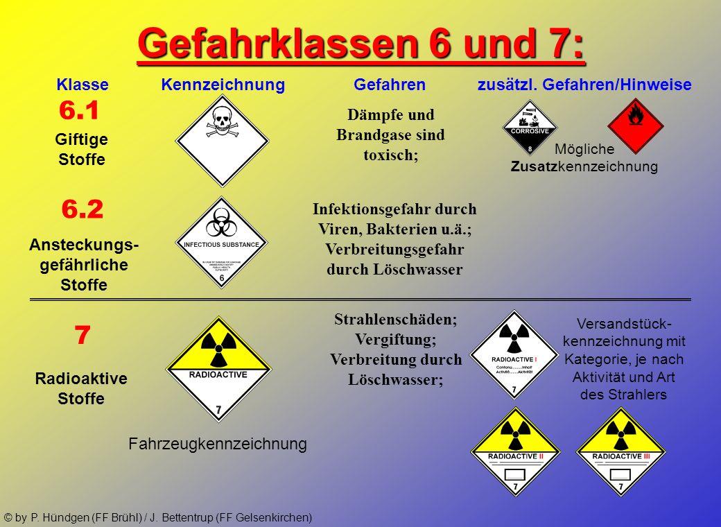 © by P. Hündgen (FF Brühl) / J. Bettentrup (FF Gelsenkirchen) Gefahrklassen 4 und 5: 4.1 5.1 Klasse Kennzeichnung Gefahren zusätzl. Gefahren/Hinweise
