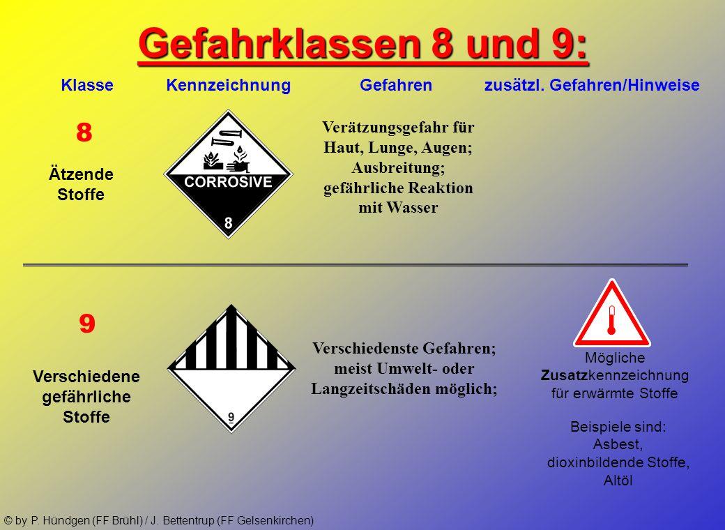 © by P. Hündgen (FF Brühl) / J. Bettentrup (FF Gelsenkirchen) Gefahrklassen 6 und 7: 6.1 7 Klasse Kennzeichnung Gefahren zusätzl. Gefahren/Hinweise Gi