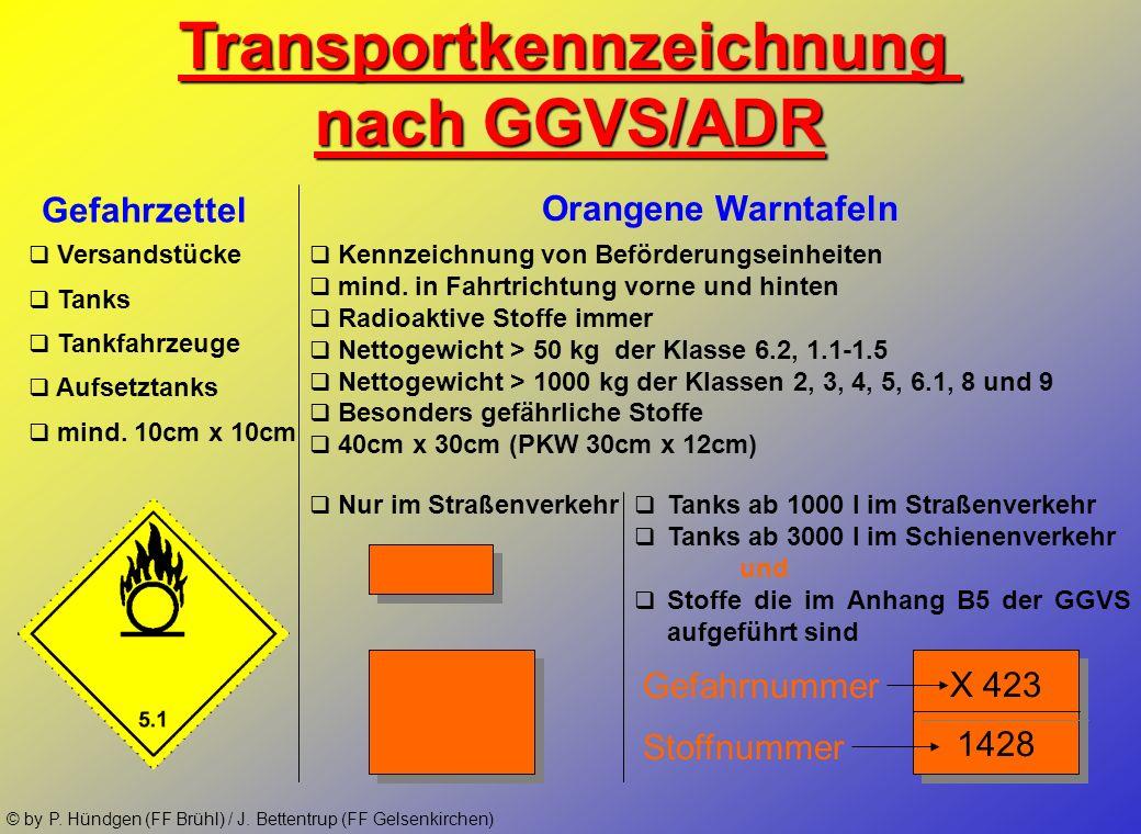© by P. Hündgen (FF Brühl) / J. Bettentrup (FF Gelsenkirchen) Gefahrklassen 8 und 9: 9 Klasse Kennzeichnung Gefahren zusätzl. Gefahren/Hinweise Versch