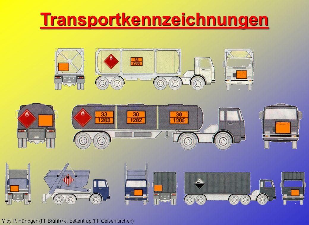 © by P. Hündgen (FF Brühl) / J. Bettentrup (FF Gelsenkirchen) Gefahrnummern (Kemmler-Zahlen) 2Entweichen von Gas durch Druck oder chemische Reaktion 3
