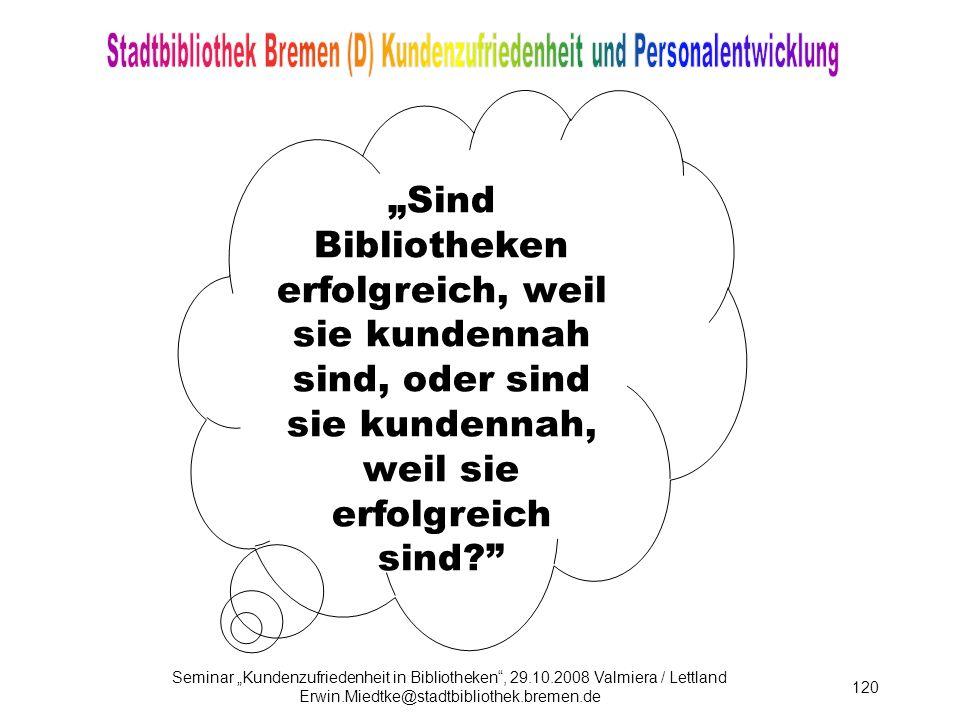 Seminar Kundenzufriedenheit in Bibliotheken, 29.10.2008 Valmiera / Lettland Erwin.Miedtke@stadtbibliothek.bremen.de 120 .