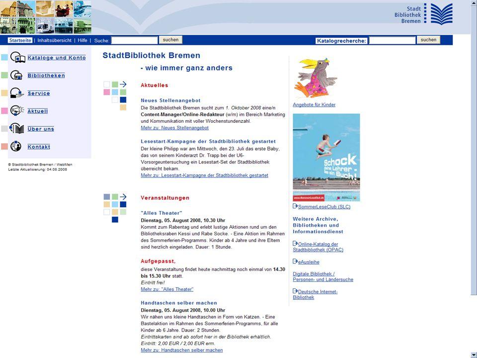 Seminar Kundenzufriedenheit in Bibliotheken, 29.10.2008 Valmiera / Lettland Erwin.Miedtke@stadtbibliothek.bremen.de 98