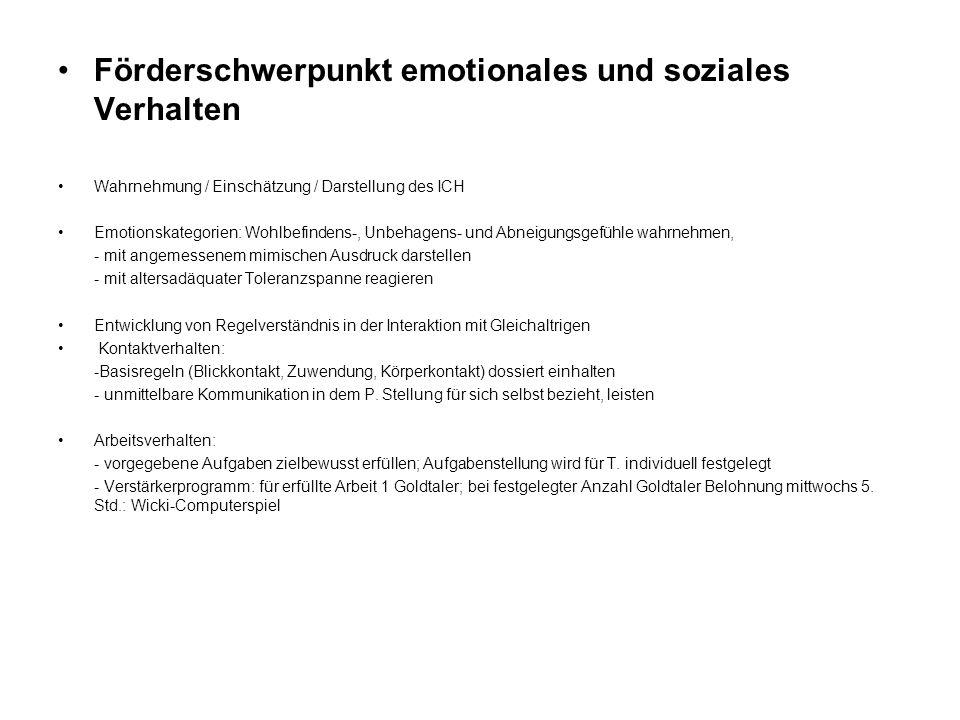 Förderschwerpunkt emotionales und soziales Verhalten Wahrnehmung / Einschätzung / Darstellung des ICH Emotionskategorien: Wohlbefindens-, Unbehagens-