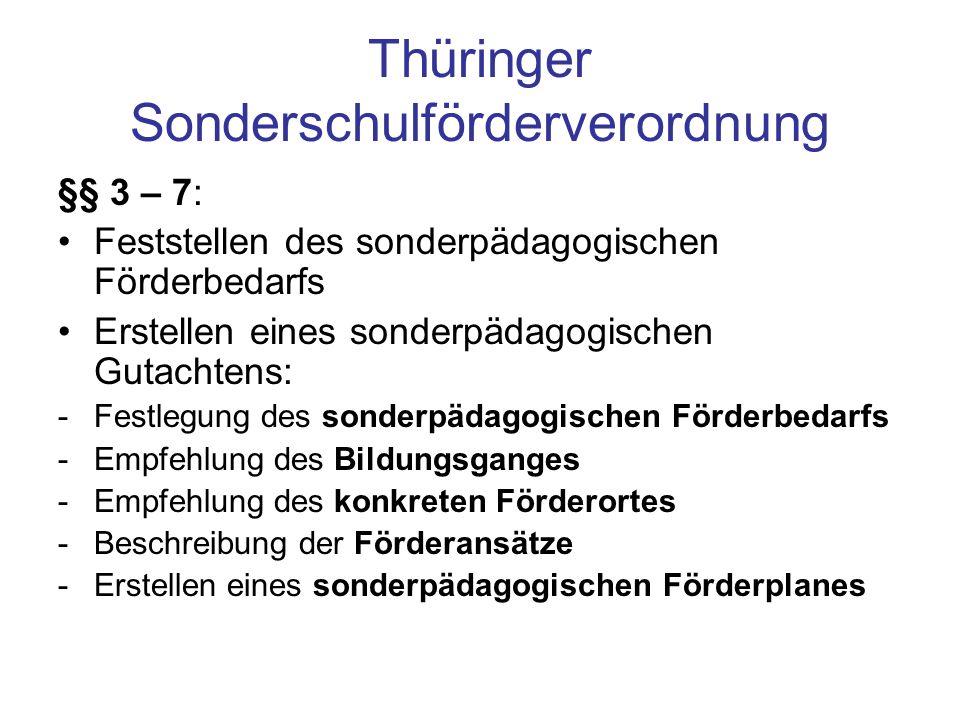 Thüringer Sonderschulförderverordnung §§ 3 – 7: Feststellen des sonderpädagogischen Förderbedarfs Erstellen eines sonderpädagogischen Gutachtens: -Fes