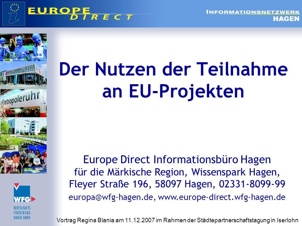 Herausforderungen für eine erfolgreiche Durchführung von EU- Projekten bei der Projektdurchführung Sehr viel Bürokratismus in Bezug auf Aktivitäts- und Finanzberichterstattung Hohe bürokratische Hürden bei Veränderungen im Projektverlauf Wenig Unterstützung seitens der EU bei auftretenden Fragen und Problemen im Projektkonsortium Brücke zwischen EU und lokaler Ebene schlagen Anforderungen der EU-Ebene versus kommunaler Bürokratie Vermittlung zwischen 2 Blickwinkeln= 2 Sprachen