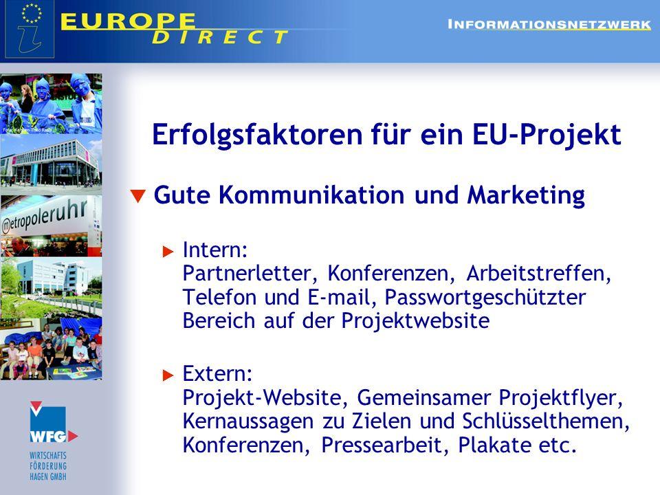 Erfolgsfaktoren für ein EU-Projekt Gute Kommunikation und Marketing Intern: Partnerletter, Konferenzen, Arbeitstreffen, Telefon und E-mail, Passwortge