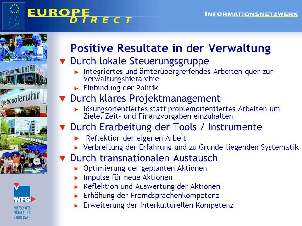 Positive Resultate in der Verwaltung Durch lokale Steuerungsgruppe Integriertes und ämterübergreifendes Arbeiten quer zur Verwaltungshierarchie Einbin