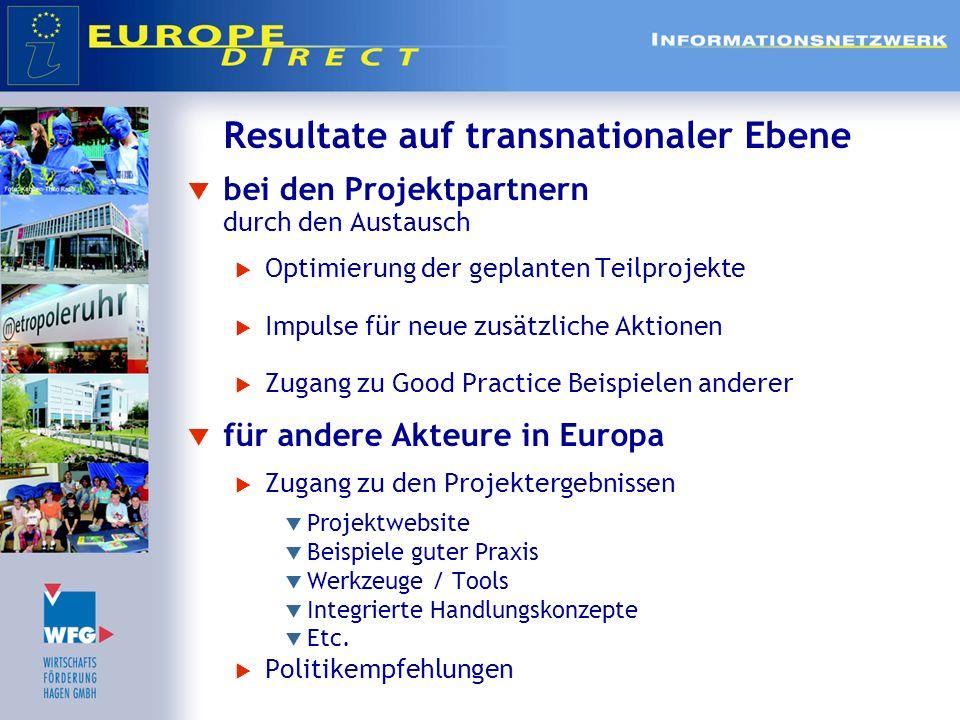 Resultate auf transnationaler Ebene bei den Projektpartnern durch den Austausch Optimierung der geplanten Teilprojekte Impulse für neue zusätzliche Ak