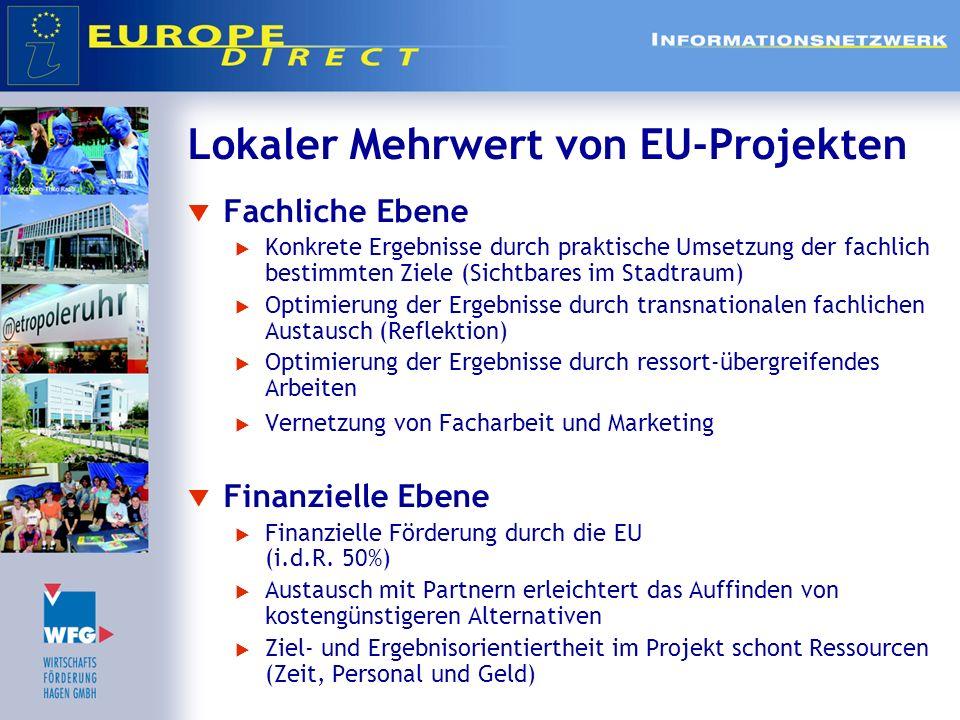 Lokaler Mehrwert von EU-Projekten Fachliche Ebene Konkrete Ergebnisse durch praktische Umsetzung der fachlich bestimmten Ziele (Sichtbares im Stadtrau