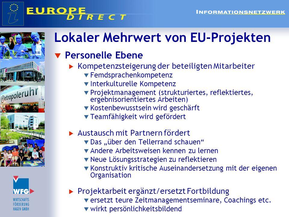 Lokaler Mehrwert von EU-Projekten Personelle Ebene Kompetenzsteigerung der beteiligten Mitarbeiter Femdsprachenkompetenz Interkulturelle Kompetenz Pro