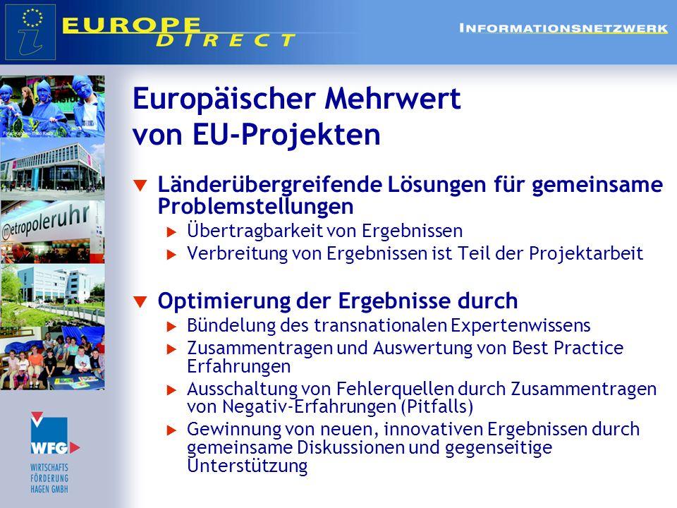 Europäischer Mehrwert von EU-Projekten Gemeinsame Europäische Identität Europa erhält auf der lokalen Ebene ein Gesicht Bewusstsein für die gemeinsame Gestaltung Europas wächst Bildung tragfähiger und nachhaltiger Kooperationen und Netzwerke Verständnis für die kulturellen Unterschiede Europäische Freundschaften