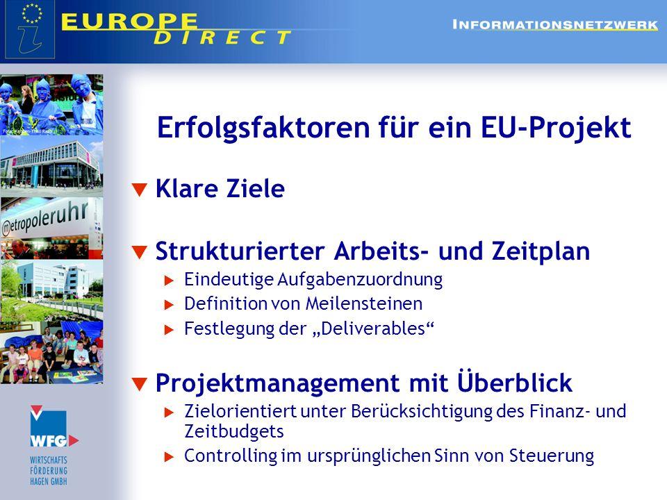 Erfolgsfaktoren für ein EU-Projekt Klare Ziele Strukturierter Arbeits- und Zeitplan Eindeutige Aufgabenzuordnung Definition von Meilensteinen Festlegu