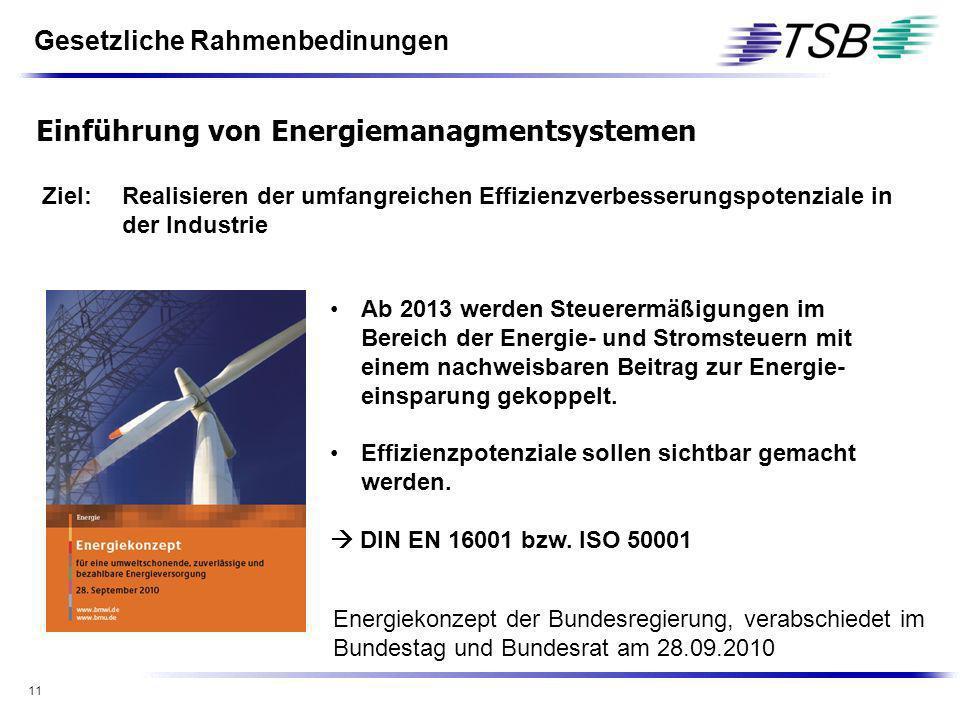 11 Ziel:Realisieren der umfangreichen Effizienzverbesserungspotenziale in der Industrie Ab 2013 werden Steuerermäßigungen im Bereich der Energie- und