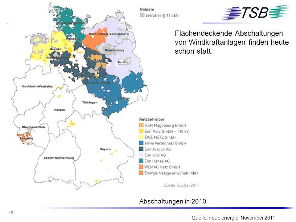 15 Quelle: neue energie, November 2011 Flächendeckende Abschaltungen von Windkraftanlagen finden heute schon statt. Abschaltungen in 2010