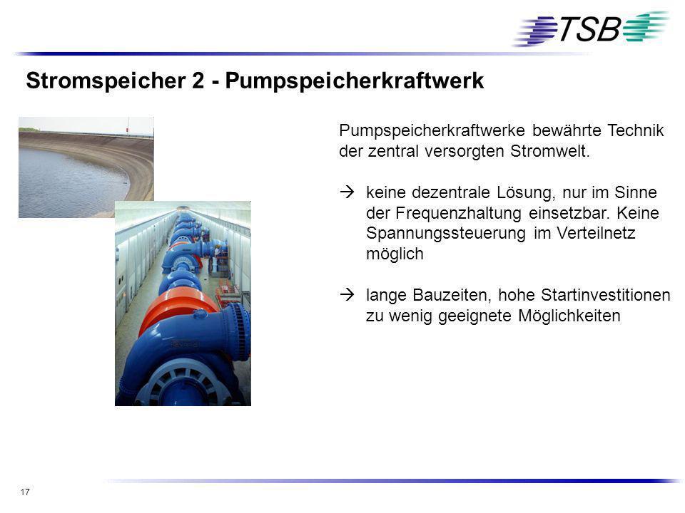 17 Stromspeicher 2 - Pumpspeicherkraftwerk Pumpspeicherkraftwerke bewährte Technik der zentral versorgten Stromwelt. keine dezentrale Lösung, nur im S