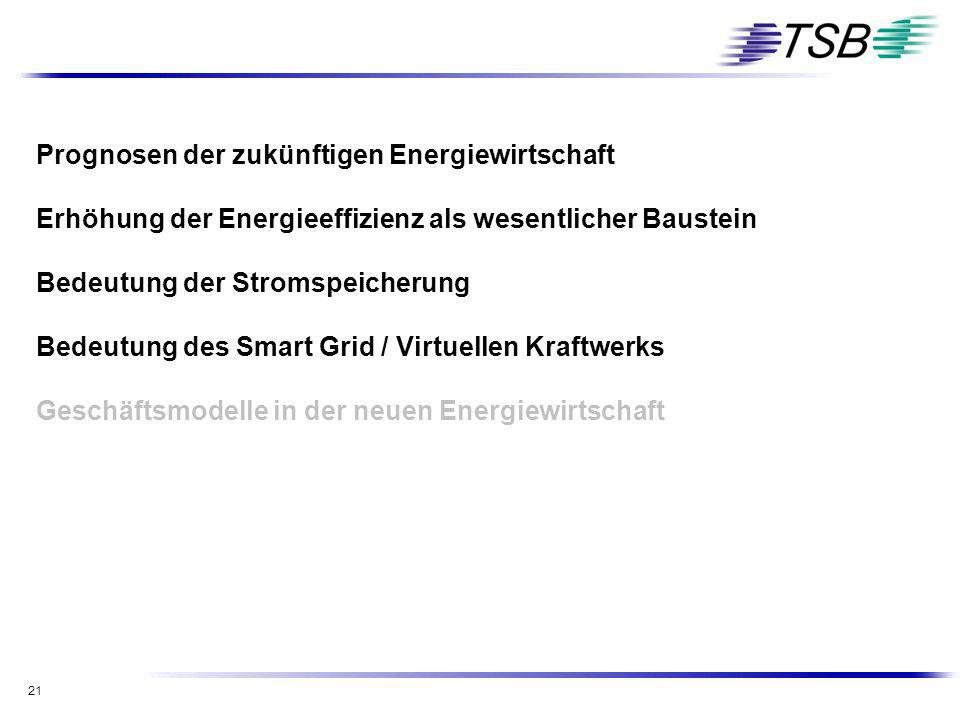 21 Prognosen der zukünftigen Energiewirtschaft Erhöhung der Energieeffizienz als wesentlicher Baustein Bedeutung der Stromspeicherung Bedeutung des Sm
