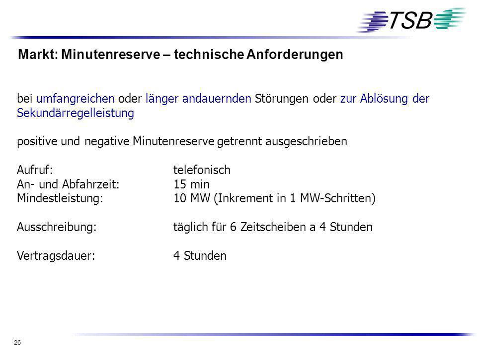 26 Markt: Minutenreserve – technische Anforderungen bei umfangreichen oder länger andauernden Störungen oder zur Ablösung der Sekundärregelleistung po