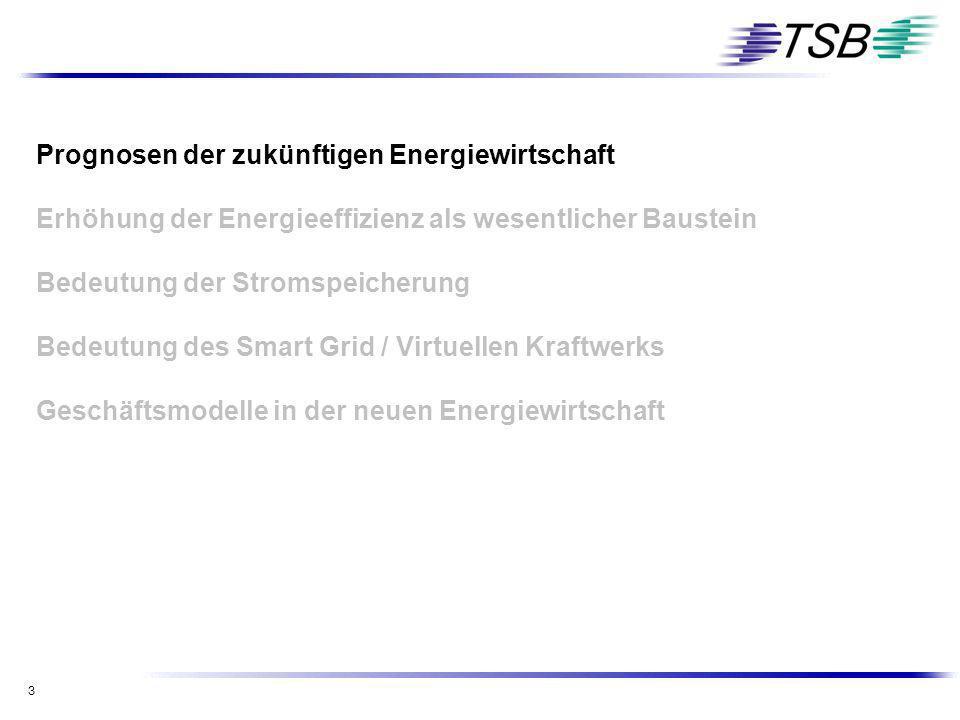 3 Prognosen der zukünftigen Energiewirtschaft Erhöhung der Energieeffizienz als wesentlicher Baustein Bedeutung der Stromspeicherung Bedeutung des Sma