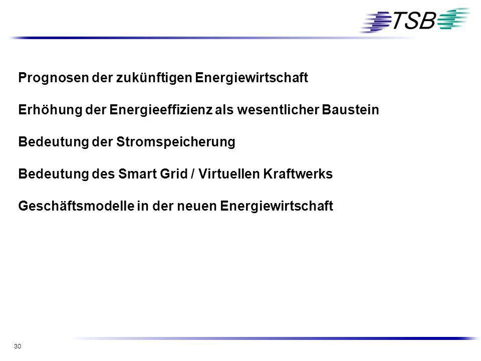 30 Prognosen der zukünftigen Energiewirtschaft Erhöhung der Energieeffizienz als wesentlicher Baustein Bedeutung der Stromspeicherung Bedeutung des Sm