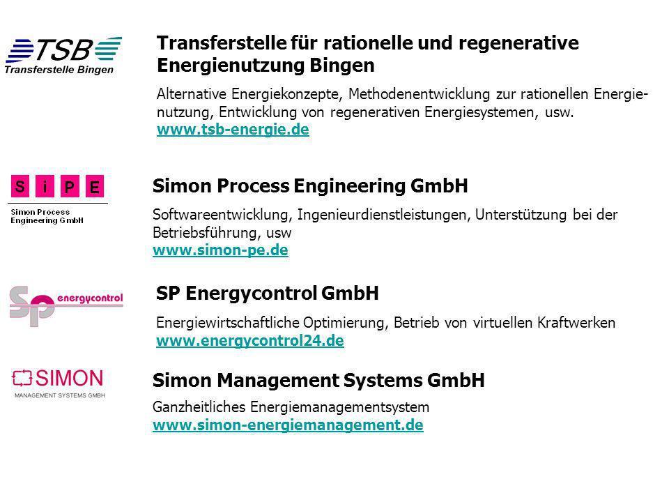 38 Simon Process Engineering GmbH Transferstelle für rationelle und regenerative Energienutzung Bingen Softwareentwicklung, Ingenieurdienstleistungen,