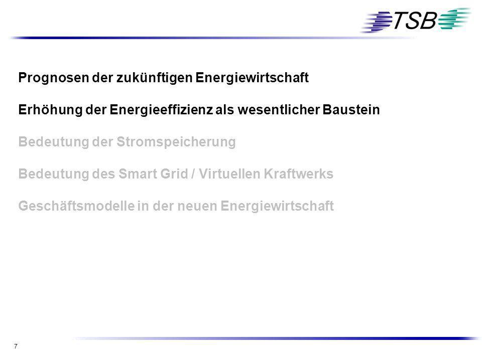 7 Prognosen der zukünftigen Energiewirtschaft Erhöhung der Energieeffizienz als wesentlicher Baustein Bedeutung der Stromspeicherung Bedeutung des Sma