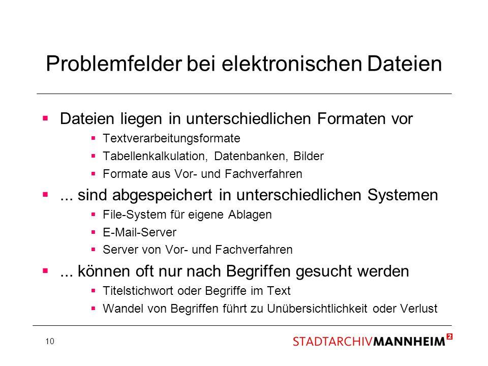10 Problemfelder bei elektronischen Dateien Dateien liegen in unterschiedlichen Formaten vor Textverarbeitungsformate Tabellenkalkulation, Datenbanken