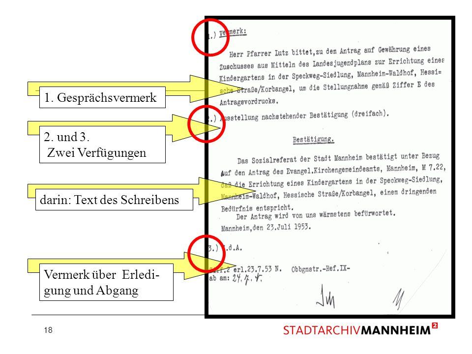 18 1. Gesprächsvermerk 2. und 3. Zwei Verfügungen darin: Text des Schreibens Vermerk über Erledi- gung und Abgang